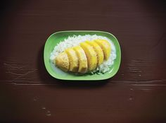 Mango Sticky Rice from Pok Pok's Andy Ricker. Get the recipe: http://food52.com/blog/8902-pok-pok-s-khao-niaw-mamuang-sticky-rice-with-mango-and-salty-sweet-coconut-cream. #Food52