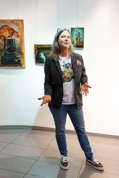 Grace Kotze, South African Fine artist from Durban at her solo exhibition 'Wonderland' in Cape Town, Nov 2019 Feral Cat House, Visual Literacy, South African Artists, Charity Shop, Walkabout, Cape Town, Alice In Wonderland, Bomber Jacket, Fashion