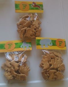Zoo Party?! Animal Crackers, scrapbook paper, Ribbon, Cricut cut outs & sticker. Cute little giveaways