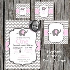 Elephant Birthday Party Package  Elephant Baby by PrintYourEvent