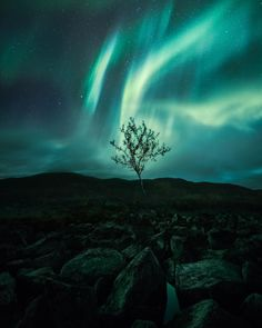 Guided by the light. A breathtaking show of the Northern Lights in Kilpisjärvi. The rocky path was quite challenging, but the view was… Northern Lights Wallpaper, Lit Wallpaper, Energie Positive, Aurora Borealis, Stargazing, Nature Photos, Finland, Beautiful Places, Sky