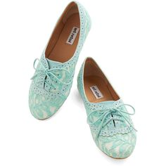 ModCloth Pastel Joined at the Skip Flat ($35) ❤ liked on Polyvore featuring shoes, flats, oxfords, blue, sapatos, flat, oxford flat, lace shoes, flat shoes and blue oxford shoes