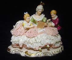 "Dresden Art WR Germany Lace Figurine Lady with Children 8"" Marked 