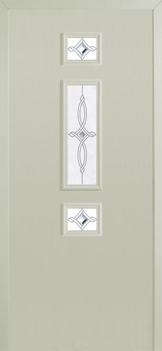 'Tux' style #composite #door with 'Olympias' glass design in cream finish.