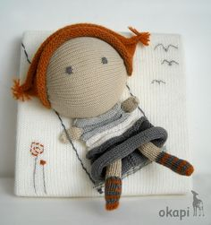Lola Swings...Knitting Canvas Wall Hanging: 20x20cm. $55.