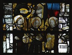 Great Malvern, Worcestershire, priory, stained glass with musical instruments