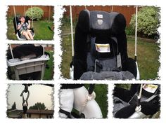 Change an expired car seat into a swing!   I would totally do this with Sophia's carrier if I didn't use it at grocery stores, until they bring those awesome special needs carts