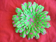 Neon green daisy hairclip with neon pink polka dots with center bling. www.sexypleasures.ShopHandmade.com