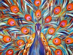 Peacock Original Acrylic Painting 18x24 by PeacocksGallery on Etsy