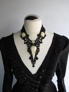 Raven skull black necklace.  Dark