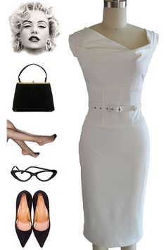 $50 50s Style WHITE JackieO Belted PINUP Wiggle Dress w/Asymmetrical DRAPED Bodice #PrivateManufacturer #WigglePencil #Cocktail