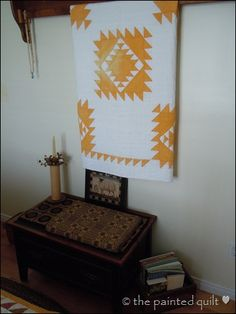 cheddar & white antique quilt  Great pattern....how about navy or red?