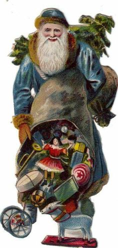Victorian Scrap Blue Robed Santa, ca. 1880 * 1500 free paper dolls Christmas gifts artist Arielle Gabriels The International Paper Doll Society also free paper dolls The China Adventures of Arielle Gabriel *