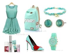 """""""Mint Green Dress Backpack Style"""" by bygoods ❤ liked on Polyvore featuring Lonna & Lilly, Oscar de la Renta and Benefit"""