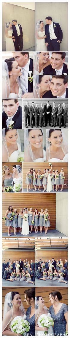 bride and groom wedding party portraits seattle wedding photographer januik winery woodinville grey bridesmaid dresses green and white bouquets