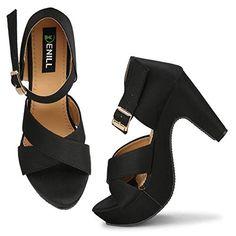 Denill Comfortable, Block Heels for Womens and Girls Stiletto Pumps, Peep Toe Heels, Women's Pumps, Sandal Heels, Types Of Sandals, Types Of Heels, Ankle Strap Block Heel, Block Heels, Pencil Heels