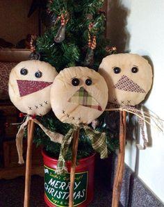 Primitive snowman pokes/crock pokes by CraftsbyNa on Etsy