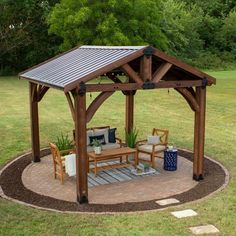 The outdoor gazebo design has advanced to combine fashion as well as function. When you decide to add an outdoor gazebo design […] Backyard Pavilion, Backyard Gazebo, Backyard Patio Designs, Pergola Designs, Backyard Landscaping, Backyard Storage, Outdoor Pavilion, Garden Gazebo, Fire Pit Pergola