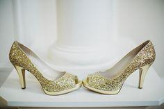 Gold, sparkly heels for Indian wedding, photos by Ryan Flynn Photography | via junebugweddings.com