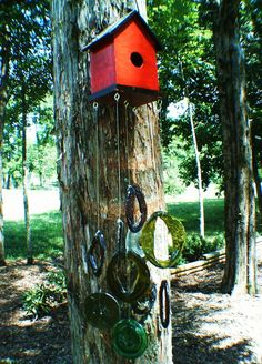 Red bird house and recycled glass wind chime $14.50 #handmade #wood