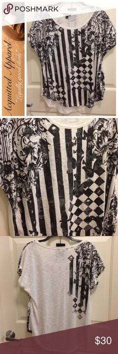 {NWT} [Rock & Republic] Black and White Bling Top Beautiful new with tags. Embellished front. Rock & Republic black and white with bling. Size small. Rock & Republic Tops Blouses