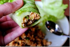 P.F. Chang's Lettuce Wrap     salt & pepper, a dash of each  2 large cloves garlic, minced  1 inch gnob fresh ginger, peeled & minced  1 Tablespoon sesame oil  2 1/2 Tablespoons soy sauce  1/2 Tablespoon water  1 Tablespoon natural peanut butter  1/2 Tablespoon honey  1 Tablespoons + 1 teaspoon rice vinegar  2 teaspoons chili garlic sauce (or more if you like it hotter)  dash of fresh pepper  3 green onions, chopped  1/2-8oz can sliced water chestnuts, drained & chopped  1/4 cup peanuts, chopped  10-12 large outer lettuce leaves, rinsed and patted dry
