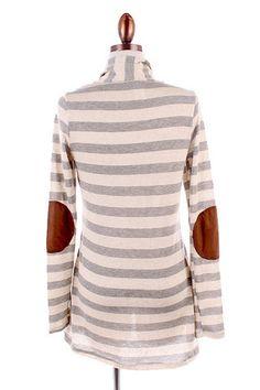 Elbow Patch Cardigan - Grey Stripe