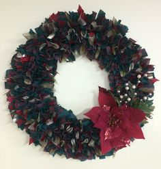 """16"""" Red and green plaid  poinsettia Wreath by PensPreciousTreasure on Etsy"""