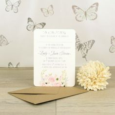 Pastel Bouquet Evening Invitation. Stunning handmade invitations and matching stationery items available on line. Browse our selection now.