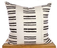 20 inch White African Mud Cloth Pillow Cover