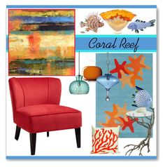 """""""Coral Reef"""" by stephlo-1 ❤ liked on Polyvore featuring interior, interiors, interior design, home, home decor, interior decorating, Dierk Van Keppel, Herend, Foscarini and Cost Plus World Market"""