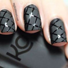 black matte nails with black stripes
