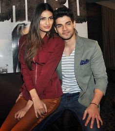 Sooraj Pancholi and Athiya Shetty at a media event to promote 'Hero'. #Bollywood #Hero #Fashion #Style #Beauty #Handsome