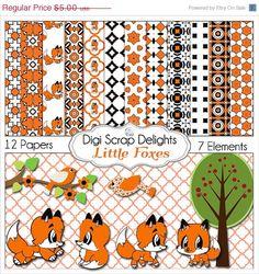 SALE 33% Off Fox Clip Art & Digital Papers by DigiScrapDelights