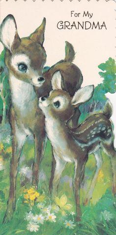 Adorable Vintage Hallmark Embossed Fawn Deer Birthday Greeting Card 1960's 1970's Die Cut Mod