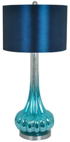 Peacock Blues Mercury Glass Table Lamp