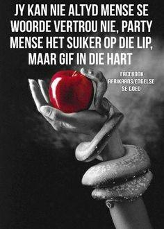 Party mense het suiker op die lip, maar gif in die hart... jy kan nie altyd mense se woorde vertrou nie. #Afrikaans #Fromthe♡ #say
