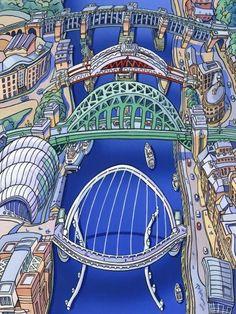 Tyne Bridges - River Tyne by John Coatsworth Signed limited edition mounted print Gateshead Millennium Bridge, Durham City, Down The River, North East England, Best Cities, Local Artists, Countries Of The World, Night Life, Bridges