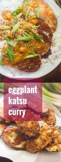 This cozy vegan katsu curry is made with crispy panko-crusted eggplant slabs served over rice and smothered in flavor-packed Japanese curry sauce.
