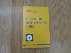 Christliche Gesellschaftslehre * Joseph Kardinal Höffner 1997 Professor, Religion, Cover, Books, Ebay, Christianity, Christian, Faith, Teacher