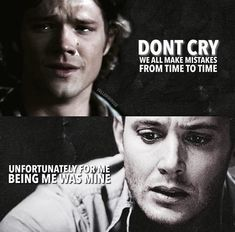 I swear I'm going to cry Jared Padalecki Supernatural, Supernatural Funny, Winchester Boys, Winchester Brothers, Sad Supernatural Quotes, Goodnight Post, Cw Tv Series, Fantastic Show, Fandom Memes
