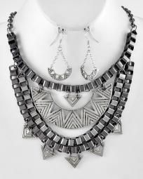 Art Deco retro Goth necklace earring set Art House $0 ship
