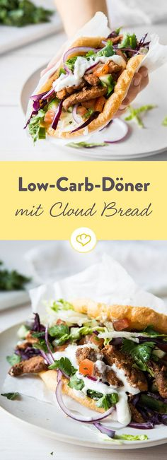 Low carb kebab on the fist? No problem thanks to the airy egg and cream cheese cloud bread. Bake, fill, save carbohydrates and bite with relish. Low-carb kebab with cloud bread m. herzi low carb Low carb kebab on the fist? No problem than Low Carb Fast Food, Low Carb Keto, Low Carb Recipes, Diet Recipes, Healthy Recipes, Bread Recipes, Low Carb Burger, Sandwich Recipes, Snacks Recipes