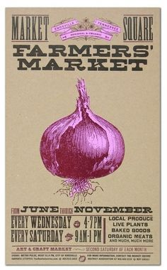 Impressive / FARMERS MARKET ONION Hand Printed Letterpress Poster by YeeHaw