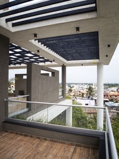 Image 10 of 23 from gallery of Hambarde Residence / Axis Design Studio. Photograph by Hemant Patil Roof Design, House Design, Balcony Planters, Ground Floor Plan, Concrete Design, Photo Studio, Pergola, Sweet Home, Floor Plans