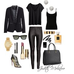 Black with black by judith-molinero-fashion on Polyvore featuring polyvore fashion style H&M Christian Louboutin Michael Kors Alexander McQueen Bony Levy Ray-Ban Clarins Yves Saint Laurent Giorgio Armani Chanel Butter London