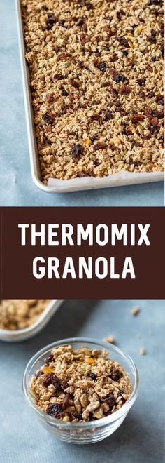 Lovely crunchy home made Granola made with oats & seeds, sweetened with maple and added cinnamon for spice. Thermomix Recipes Healthy, Veggie Recipes Healthy, Delicious Vegan Recipes, Vegan Desserts, Raw Food Recipes, Brunch Recipes, Sweet Recipes, Breakfast Recipes, Yummy Food