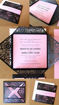Pretty pink & black wedding invitation suite by Paper Bound Love on Etsy