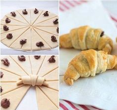 Essen These croissants are quick and easy to make, and perfectly flaky and Nutella-licious. Nutella Croissant, Breakfast Croissant, Chocolate Croissants, Chocolate Hazelnut, Chocolate Croissant Recipe, Nutella Breakfast, Mini Croissants, Baking Recipes, Dessert Recipes