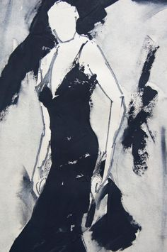 Woman in a little black dress on straps. Original painting on recycled paper. Minimalist sketch with watercolor. Portrait. Wall art by ankaGilding on Etsy